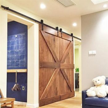 12 Ft Black Antique Style Sliding Barn Wood Door Hardware