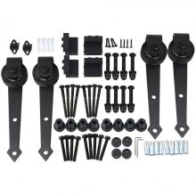 12 FT Black Antique Style Sliding Barn Wood Door Hardware Closet Set