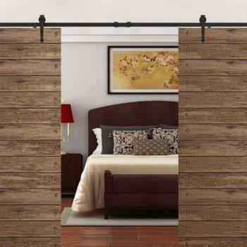 12 FT Black Antique Style Sliding Barn Wood Door Hardware Closet Set