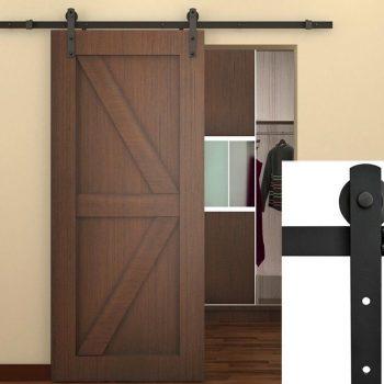 6.6 FT American Antique Style Sliding Barn Wood Door Hardware Closet Set