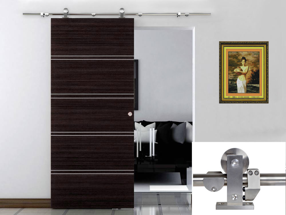 6.6 FT Modern Sliding Door Hardware Kit Stainless Steel Wood Barn Door  Track Set U2013 Home Decor