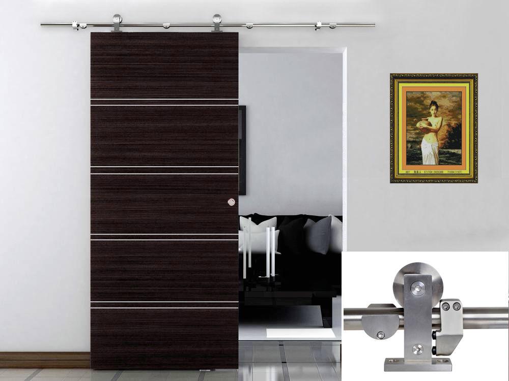 6 Ft Modern Sliding Door Hardware Kit Stainless Steel Wood Barn Track Set Home Decor