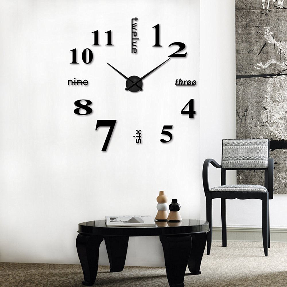 modern frameless large 3d diy wall clock kit home decor. Black Bedroom Furniture Sets. Home Design Ideas