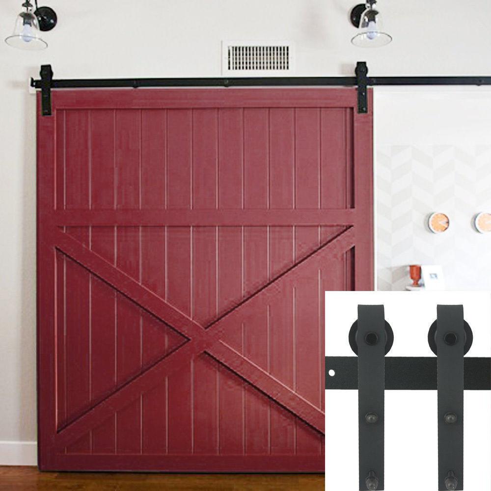 10ft Country Barn Wood Steel Sliding Door Hardware Closet