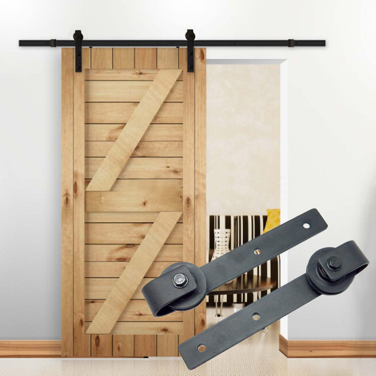 10ft country barn wood steel sliding door hardware closet for Barn door closet hardware