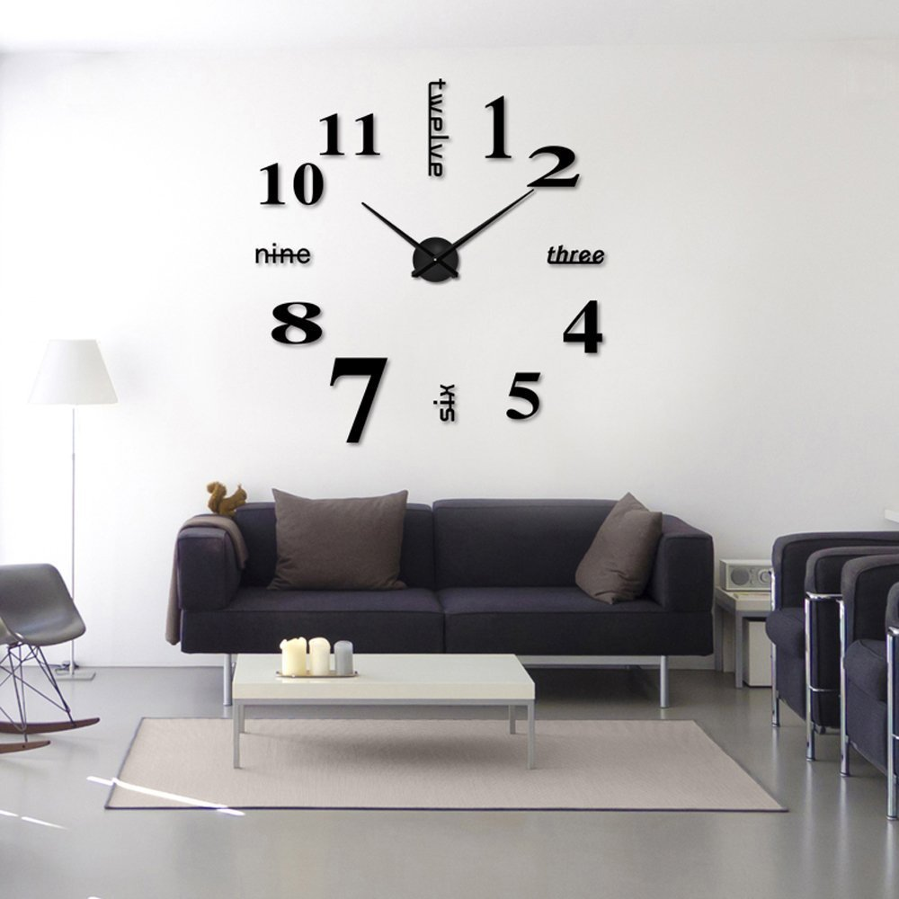 Modern Frameless Large 3D DIY Wall Clock Kit – Home Decor