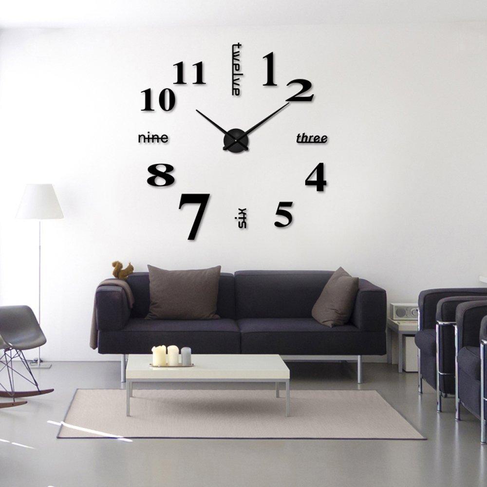 Modern frameless large 3d diy wall clock kit for Accessories modern