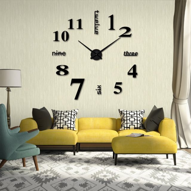Modern Frameless Large 3D DIY Wall Clock Kit