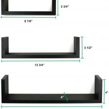 Set of 3 Floating U Shelves, Espresso Finish