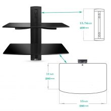 Floating Shelf with Strengthened Tempered Glass for DVD Players/Cable Boxes/Games Consoles/TV Accessories