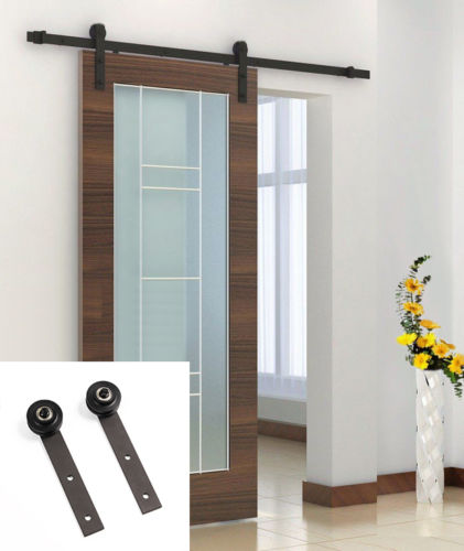 8 Ft Black Sliding Barn Door Hardware Kit Solid Country