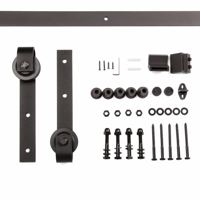 8 FT Black Sliding Barn Door Hardware Kit Solid Country Antique Style