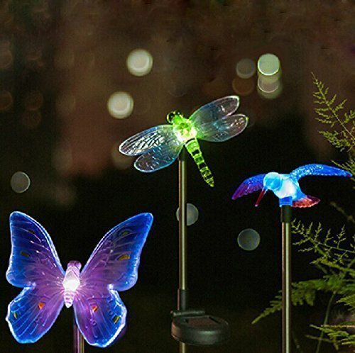 Ordinaire Solar Powered Outdoor Hummingbird, Butterfly U0026 Dragonfly Solar Garden Stake  Light With Chameleon Multi Color Changing LED Light