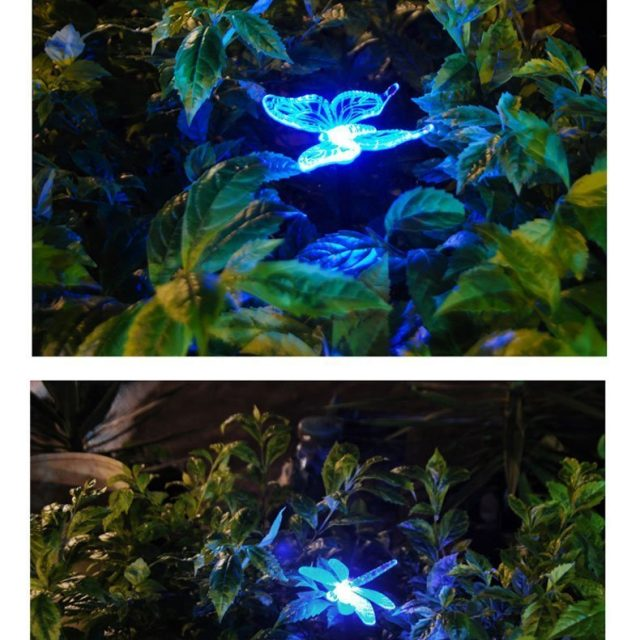 Solar Powered Outdoor Hummingbird, Butterfly U0026 Dragonfly Solar Garden Stake  Light With Chameleon Multi Color Changing LED Light